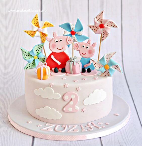 Bánh kem sinh nhật hình ảnh con heo Peppa Pig