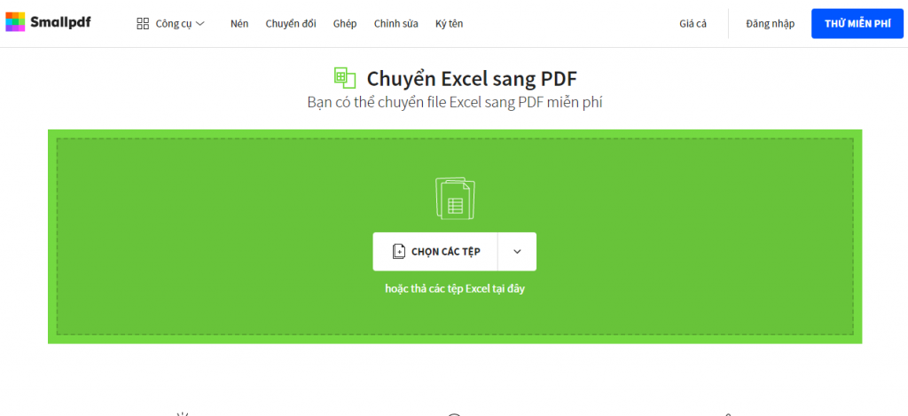 Chuyển file excel to pdf - Giao diện tiếng việt