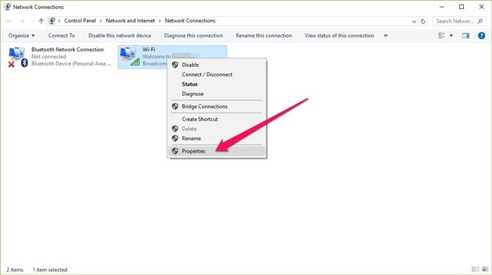 Bước 2 - Click chuột phải vào kết nối mạng đang hoạt động, sau đó chọn Properties