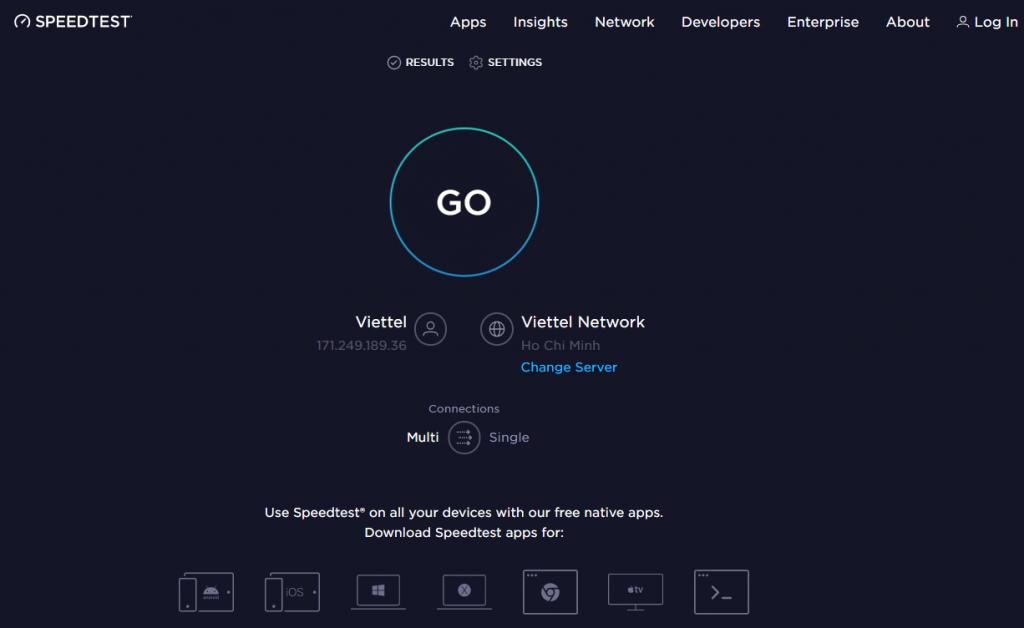 Giao diện speedstest - Internet test speed