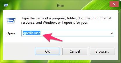 Nhấn tổ hợp phím Windows + R và gõ từ khóa gpedit