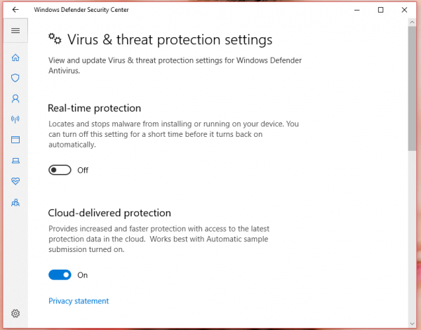 Tắt tạm thời Real-time protection trên Windows Defender