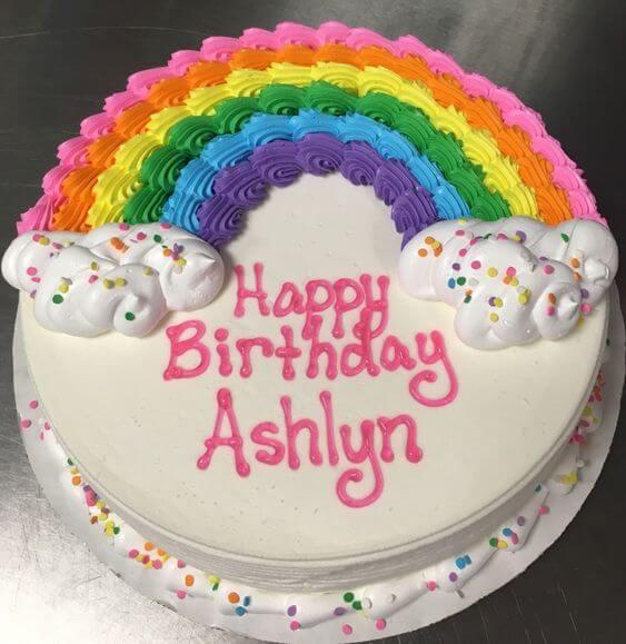 Hình bánh sinh nhật cầu vồng dễ thương