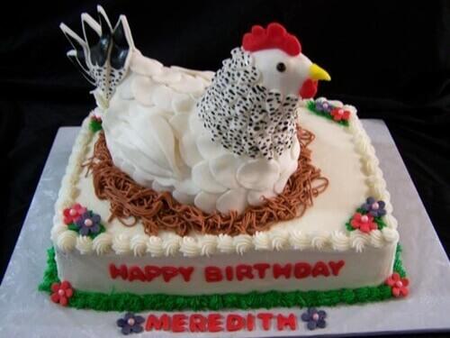 Hình chúc mừng sinh nhật bánh kem tạo hình con gà dễ thương