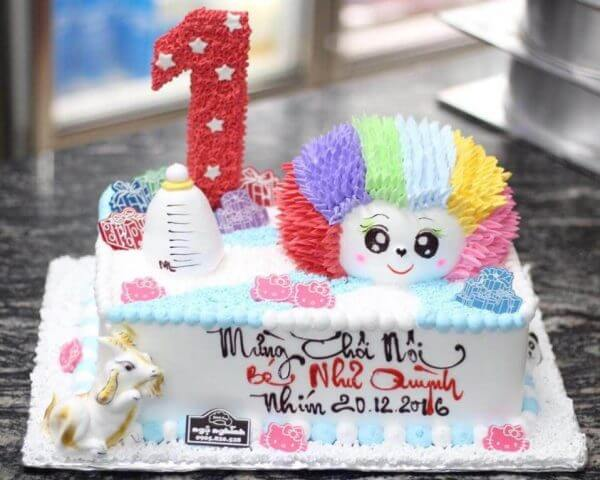Hình chúc mừng sinh nhật bánh kem tạo hình dễ thương cho sinh nhật bé 1 tuổi