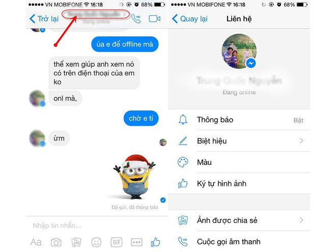 Ở Messenger nhấp vào tên tài khoản Facebook