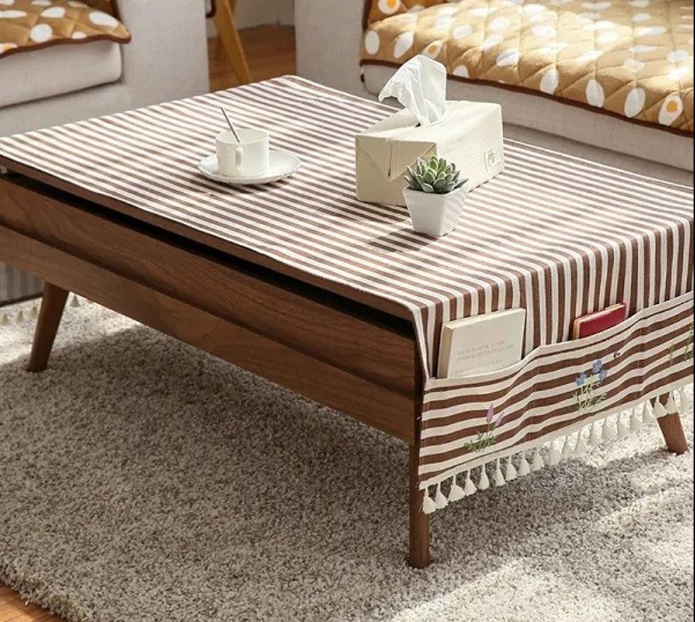 Biến tấu khu vực bàn trà với khăn trải bàn